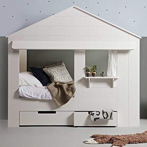 lounge-zone Hüttenbett HUISIE Kiefer weiß gebürstet