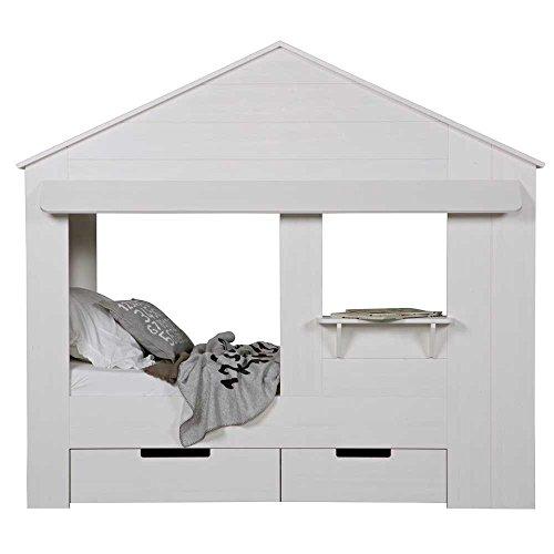 lounge-zone Hüttenbett Kinderbett Hausbett Haus Bett Abenteuerbett Spielbett HUISIE Massivholz Holz weiß Kiefer gebürstet 90x200cm INKL 2 SCHUBLADEN 13739 - 2