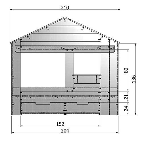 lounge-zone Hüttenbett Kinderbett Hausbett Haus Bett Abenteuerbett Spielbett HUISIE Massivholz Holz weiß Kiefer gebürstet 90x200cm INKL 2 SCHUBLADEN 13739 - 3