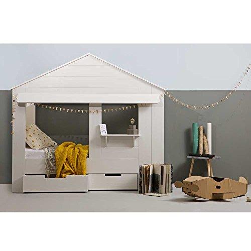 lounge-zone Hüttenbett Kinderbett Hausbett Haus Bett Abenteuerbett Spielbett HUISIE Massivholz Holz weiß Kiefer gebürstet 90x200cm INKL 2 SCHUBLADEN 13739 - 5