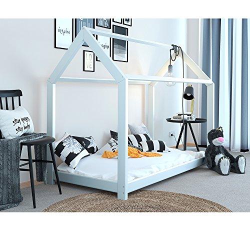 Vicco Kinderbett Inklusive Matratze Kaltschaummatratze Kinderhaus Kinder Bett Holz Haus Schlafen Spielbett Hausbett mit Matratze 90x200cm - lackiertes Massivholz (Weiß, 90 x 200 cm) - 3