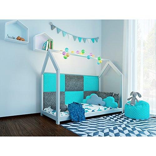 Vicco Kinderbett Inklusive Matratze Kaltschaummatratze Kinderhaus Kinder Bett Holz Haus Schlafen Spielbett Hausbett mit Matratze 90x200cm - lackiertes Massivholz (Weiß, 90 x 200 cm) - 4