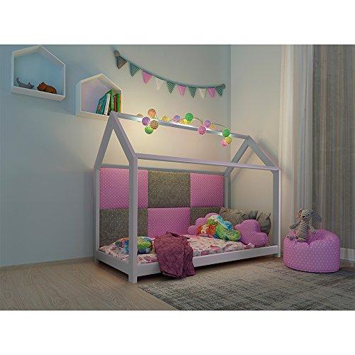 Vicco Kinderbett Inklusive Matratze Kaltschaummatratze Kinderhaus Kinder Bett Holz Haus Schlafen Spielbett Hausbett mit Matratze 90x200cm - lackiertes Massivholz (Weiß, 90 x 200 cm) - 5