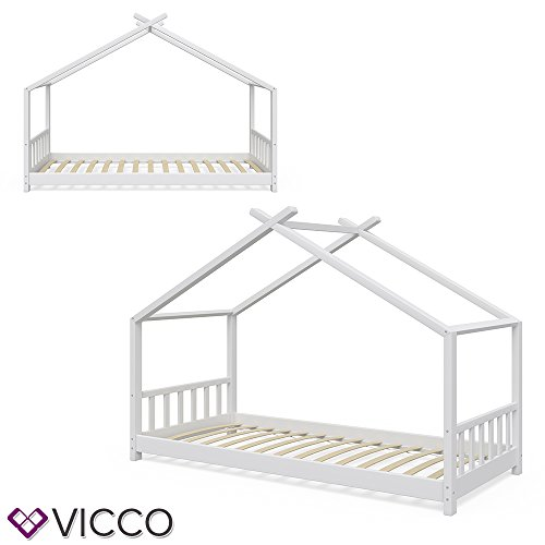 Vicco Kinderbett Hausbett Design 90x2000cm Kinder Bett Holz Haus Schlafen Hausbett Spielbett Inkl. Lattenrost - 3