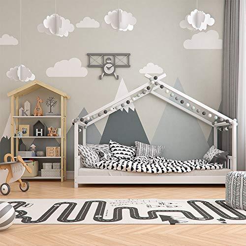 Vicco Kinderbett Hausbett Design 90x2000cm Kinder Bett Holz Haus Schlafen Hausbett Spielbett Inkl. Lattenrost - 4