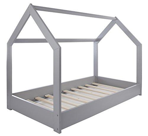 Velinda Kinderbett Hausbett Spielbett Abenteuerbett Einzelbett skandinavisches Design (Farbe: Grau) - 3