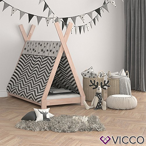 Vicco Kinderbett Tipi Kinderhaus Indianer Zelt Bett Kinder Holz Haus Schlafen Spielbett Hausbett 80x160 (Natur) - 3