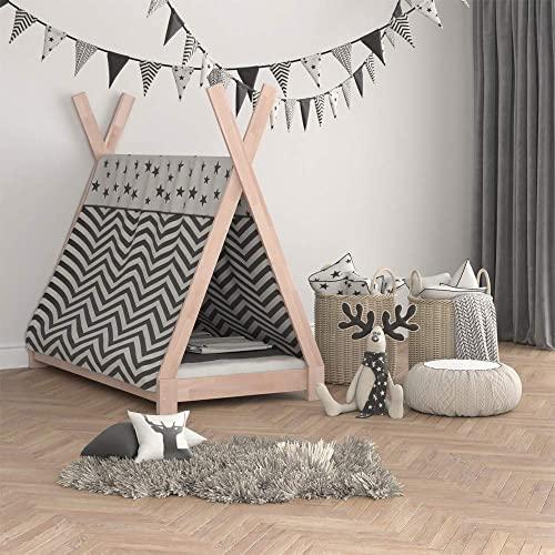 Vicco Kinderbett Tipi Kinderhaus Indianer Zelt Bett Kinder Holz Haus Schlafen Spielbett Hausbett 80x160 (Natur) - 4