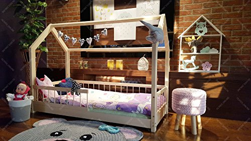Oliveo HAUSBETT KINDERHAUS Lisa Bett für Kinder,Kinderbett Spielbett mit SICHERHEITBARRIEREN (120 x 60 cm, Naturholz) - 2