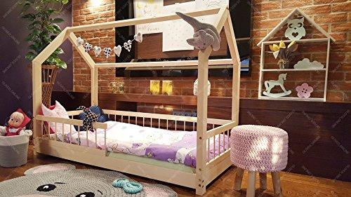 Oliveo HAUSBETT KINDERHAUS Lisa Bett für Kinder,Kinderbett Spielbett mit SICHERHEITBARRIEREN (120 x 60 cm, Naturholz) - 4