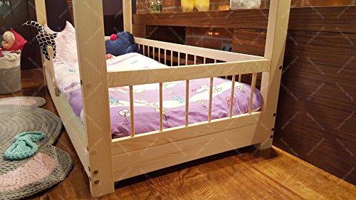 Oliveo HAUSBETT KINDERHAUS Lisa Bett für Kinder,Kinderbett Spielbett mit SICHERHEITBARRIEREN (120 x 60 cm, Naturholz) - 5