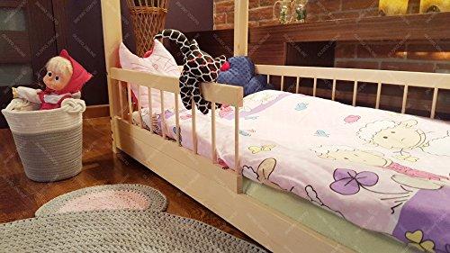 Oliveo HAUSBETT KINDERHAUS Lisa Bett für Kinder,Kinderbett Spielbett mit SICHERHEITBARRIEREN (120 x 60 cm, Naturholz) - 6