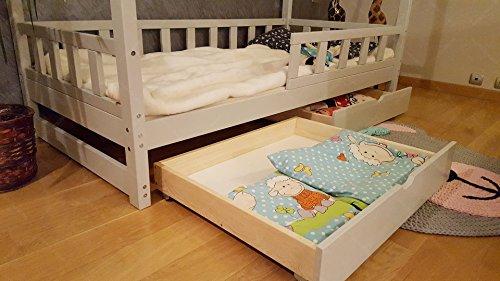 Oliveo HAUSBETT KINDERHAUS Bett für Kinder,Kinderbett Spielbett mit SICHERHEITBARRIEREN und Schublade (200 x 140 cm, Natural Wood) - 3