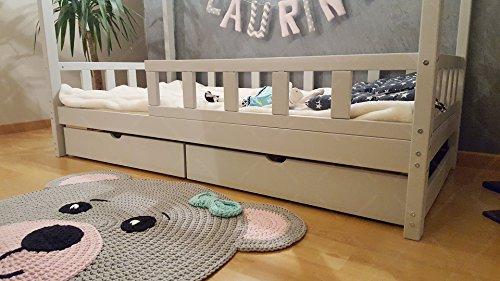 Oliveo HAUSBETT KINDERHAUS Bett für Kinder,Kinderbett Spielbett mit SICHERHEITBARRIEREN und Schublade (200 x 140 cm, Natural Wood) - 4