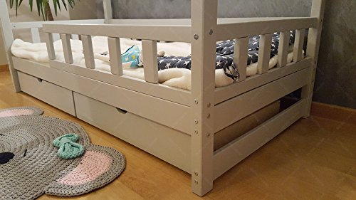 Oliveo HAUSBETT KINDERHAUS Bett für Kinder,Kinderbett Spielbett mit SICHERHEITBARRIEREN und Schublade (200 x 140 cm, Natural Wood) - 5