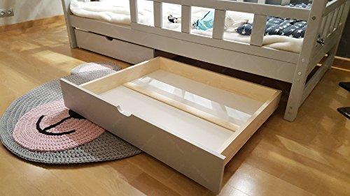 Oliveo HAUSBETT KINDERHAUS Bett für Kinder,Kinderbett Spielbett mit SICHERHEITBARRIEREN und Schublade (200 x 140 cm, Natural Wood) - 6