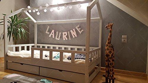 Oliveo HAUSBETT KINDERHAUS Bett für Kinder,Kinderbett Spielbett mit SICHERHEITBARRIEREN und Schublade (200 x 140 cm, Natural Wood) - 7