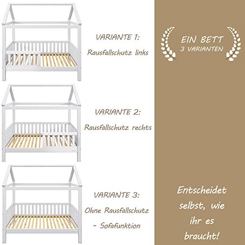 Alcube | Kinderbett Hausbett Spielbett Heim | 80 x 160 cm | Himmel und Vorhang möglich | Holz lackiert | mit Absturzsicherung Rausfallschutz und Lattenrost | weiß - 3