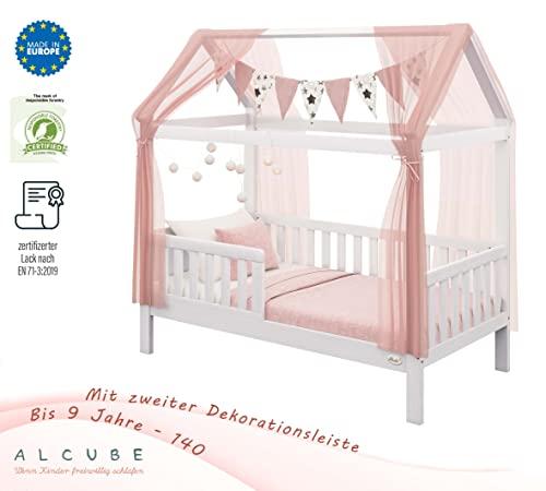Alcube | Kinderbett Hausbett Spielbett Heim | 80 x 160 cm | Himmel und Vorhang möglich | Holz lackiert | mit Absturzsicherung Rausfallschutz und Lattenrost | weiß - 5