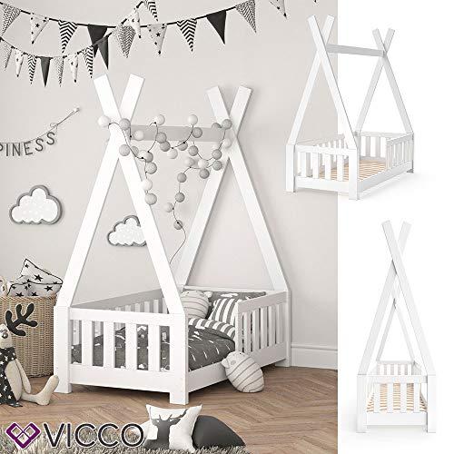 Vicco Kinderbett Tipi Indianer Bett Kinderhaus Zelt Holz Hausbett 70x140cm Weiß++++ MASSIVHOLZ +++ HOCHWERTIG ++++ - 3