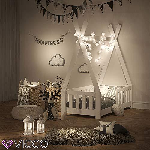 Vicco Kinderbett Tipi Indianer Bett Kinderhaus Zelt Holz Hausbett 70x140cm Weiß++++ MASSIVHOLZ +++ HOCHWERTIG ++++ - 4