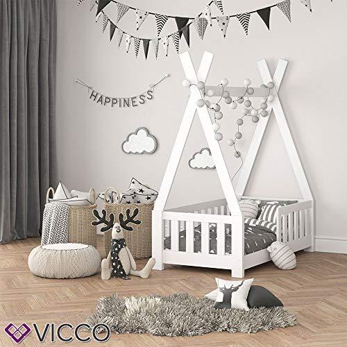 Vicco Kinderbett Tipi Indianer Bett Kinderhaus Zelt Holz Hausbett 70x140cm Weiß++++ MASSIVHOLZ +++ HOCHWERTIG ++++ - 5