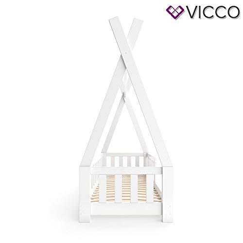 Vicco Kinderbett Tipi Indianer Bett Kinderhaus Zelt Holz Hausbett 70x140cm Weiß++++ MASSIVHOLZ +++ HOCHWERTIG ++++ - 8