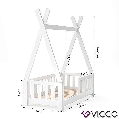 Vicco Kinderbett Tipi Indianer Bett Kinderhaus Zelt Holz Hausbett 70x140cm Weiß++++ MASSIVHOLZ +++ HOCHWERTIG ++++ - 9