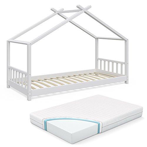 Vicco Design-Hausbett weiß (inkl. Lattenrost, Fallschutzgitter und Matratze)