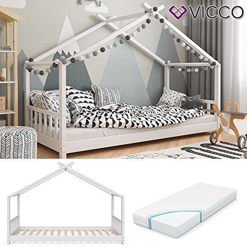 Vicco Kinderbett Hausbett Design 90x2000cm Weiß Kinder Bett Holz Haus Schlafen Hausbett Spielbett Inkl. Lattenrost und 7-Zonen Kaltschaum Matratze - 2