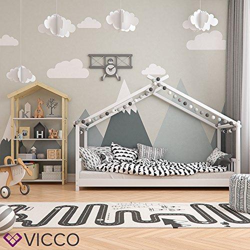 Vicco Kinderbett Hausbett Design 90x2000cm Weiß Kinder Bett Holz Haus Schlafen Hausbett Spielbett Inkl. Lattenrost und 7-Zonen Kaltschaum Matratze - 3