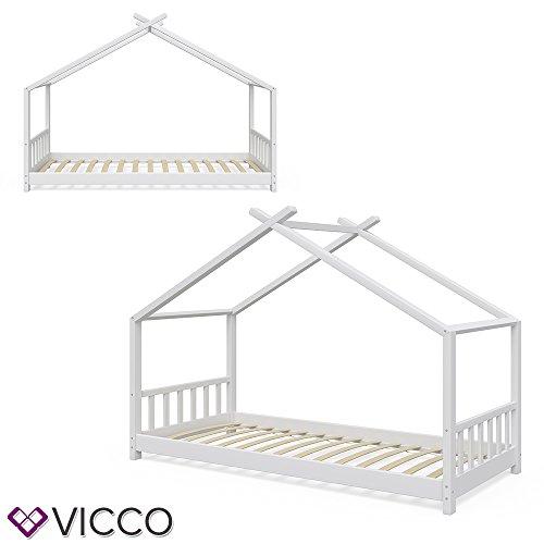 Vicco Kinderbett Hausbett Design 90x2000cm Weiß Kinder Bett Holz Haus Schlafen Hausbett Spielbett Inkl. Lattenrost und 7-Zonen Kaltschaum Matratze - 4