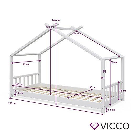 Vicco Kinderbett Hausbett Design 90x2000cm Weiß Kinder Bett Holz Haus Schlafen Hausbett Spielbett Inkl. Lattenrost und 7-Zonen Kaltschaum Matratze - 5