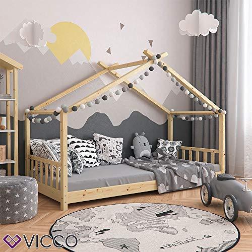Vicco Kinderbett Hausbett Design 90x200cm Natur Kinder Bett Holz Haus Schlafen Hausbett Spielbett Inkl. Lattenrost - 3