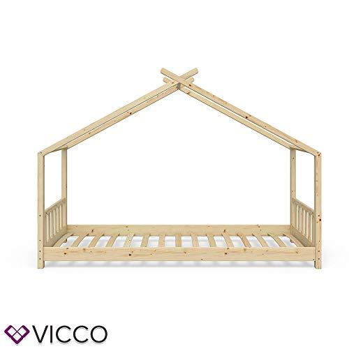 Vicco Kinderbett Hausbett Design 90x200cm Natur Kinder Bett Holz Haus Schlafen Hausbett Spielbett Inkl. Lattenrost - 4