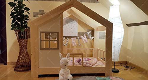 Oliveo HAUSBETT KINDERHAUS Bett für Kinder,Kinderbett Spielbett mit SICHERHEITSBARRIEREN (190 x 90 cm, Naturholz) - 2