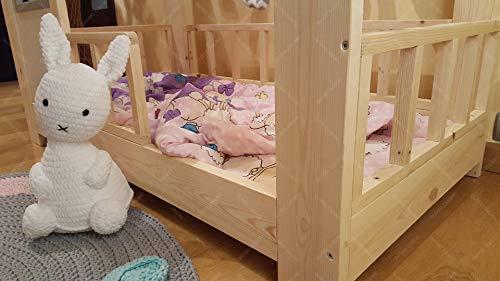 Oliveo HAUSBETT KINDERHAUS Bett für Kinder,Kinderbett Spielbett mit SICHERHEITSBARRIEREN (190 x 90 cm, Naturholz) - 4