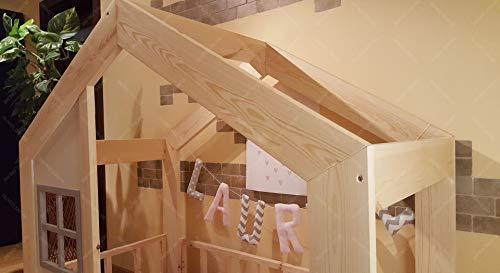 Oliveo HAUSBETT KINDERHAUS Bett für Kinder,Kinderbett Spielbett mit SICHERHEITSBARRIEREN (190 x 90 cm, Naturholz) - 5