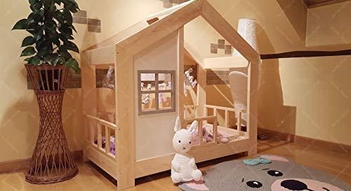 Oliveo HAUSBETT KINDERHAUS Bett für Kinder,Kinderbett Spielbett mit SICHERHEITSBARRIEREN (190 x 90 cm, Naturholz) - 7