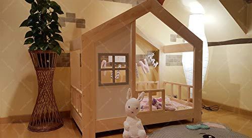 Oliveo HAUSBETT KINDERHAUS Bett für Kinder,Kinderbett Spielbett mit SICHERHEITSBARRIEREN (190 x 90 cm, Naturholz) - 8
