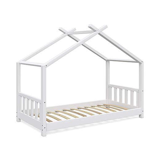 Vicco Design-Hausbett weiß (inkl. Lattenrost und Fallschutzgitter)