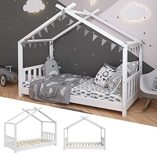 Vicco Kinderbett Hausbett Design 80x160cm weiß Zaun Kinder Bett Holz Haus Schlafen Hausbett Spielbett Inkl. Lattenrost und Fallschutzgitter - 2