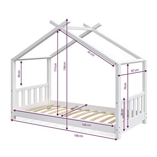 Vicco Kinderbett Hausbett Design 80x160cm weiß Zaun Kinder Bett Holz Haus Schlafen Hausbett Spielbett Inkl. Lattenrost und Fallschutzgitter - 3