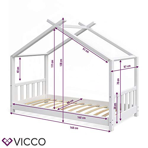 Vicco Kinderbett Hausbett Design 80x160cm weiß Zaun Kinder Bett Holz Haus Schlafen Hausbett Spielbett Inkl. Lattenrost und Fallschutzgitter - 4