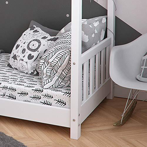 Vicco Kinderbett Hausbett Design 80x160cm weiß Zaun Kinder Bett Holz Haus Schlafen Hausbett Spielbett Inkl. Lattenrost und Fallschutzgitter - 5