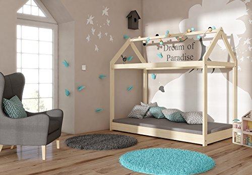 Kinderbett Kinderhaus Kinder Bett Holz Haus Schlafen Spielbett Hausbett - natural Massivholz - ACMA (200x90) - 2