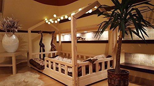 Oliveo HAUSBETT KINDERHAUS Bett für Kinder,Kinderbett mit Schublade, mit SICHERHEITBARRIEREN (Natürliches Holz, 120 x 60 cm) - 2
