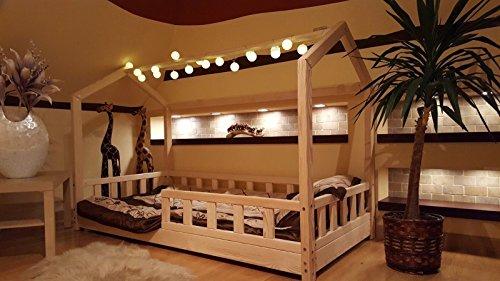 Oliveo HAUSBETT KINDERHAUS Bett für Kinder,Kinderbett mit Schublade, mit SICHERHEITBARRIEREN (Natürliches Holz, 120 x 60 cm) - 4
