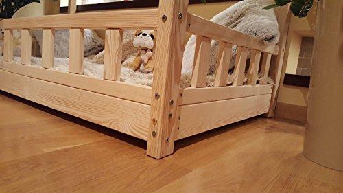 Oliveo HAUSBETT KINDERHAUS Bett für Kinder,Kinderbett mit Schublade, mit SICHERHEITBARRIEREN (Natürliches Holz, 120 x 60 cm) - 5