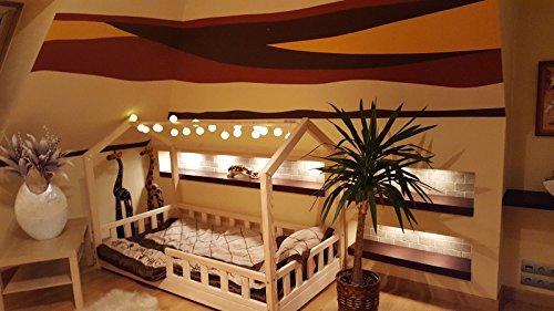 Oliveo HAUSBETT KINDERHAUS Bett für Kinder,Kinderbett mit Schublade, mit SICHERHEITBARRIEREN (Natürliches Holz, 120 x 60 cm) - 6